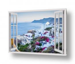 דקורטיבי מעוצב סגנון כפרי | סנטוריני בחלון