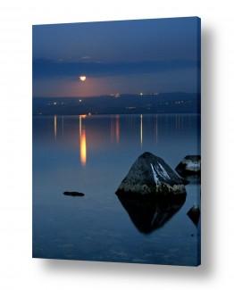 ירח ונוף מקומי ירח | ירח כנרת ואבן