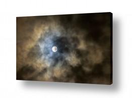 ירח ונוף מקומי ירח | ירח מלא בעננים