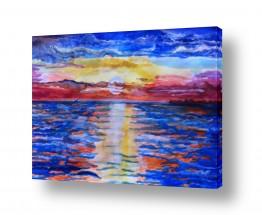 ציורים ציור בצבעי מים | צבעי שקיעה