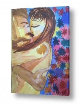 ציורים ציור בצבעי מים | נשיקה