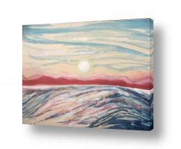 ציורים ציור בצבעי מים | גל מול הרי אדום