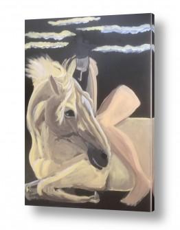 ציורים בעלי חיים | סוס ואישה ביים