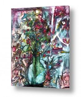 ציורים בן רוטמן | פרחים באגרטל זכוכית