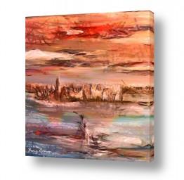 ציורים אבסטרקט | עיר במים