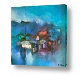 ציורים עירוני וכפרי | לילה כחול על ההר