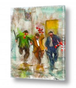 ציורים אנשים ודמויות | שלושה שיכורים שמחים