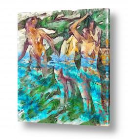 אנשים עירום | מתרחצות בנהר