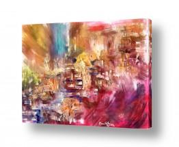 ציורים טכניקה משולבת | אורות צבעוניים