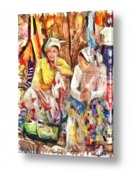 ציורים עירוני וכפרי | מוכרות בשוק