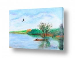 ציורים חנה כרמי | אגם החולה