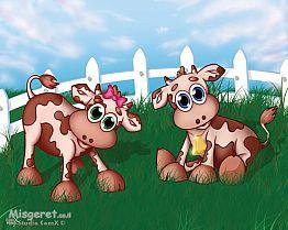 פרות חמודות בשדה ירוק
