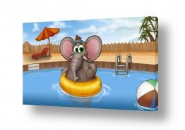 תמונות לפי נושאים קומיקס | פיל חמוד בבריכה