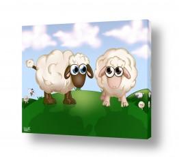 ציורים חדרי ילדים | כבשים על גבעה