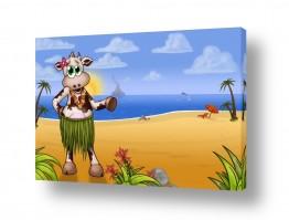ציורים בעלי חיים | בלה הפרה בחוף של הוואי