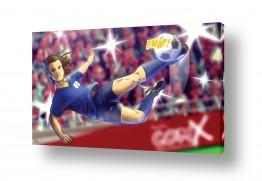 תמונות לפי נושאים קומיקס | שחקן כדורגל במגרש הכדורגל