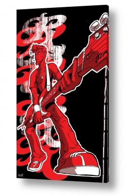 תמונות לפי נושאים גיטריסט | כוכב רוק אנד רול - אדום