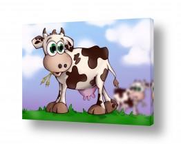 תמונות לחדרי ילדים | בלה הפרה רועה על גבעה