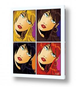 ציורים חדרי ילדים | ארבע נשים פופ ארט