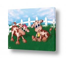 יונקים פרה | פרות חמודות בשדה ירוק