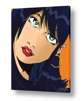 תמונות לפי נושאים קומיקס | אישה שחורת שיער פופ ארט