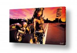 ציורים קומיקס | אישה ואופנוע על רקע שקיעה