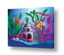 ציורים חדרי ילדים | אקווריום עם דגים