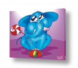 תמונות לפי נושאים קומיקס | פיל כחול על כדור