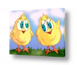 תמונות לפי נושאים חיות | שני אפרוחים צהובים