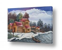 בתים גגות | כפר קטן ליד האגם