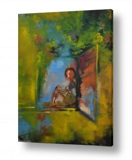ציורים אנשים ודמויות | היושבה בחלון