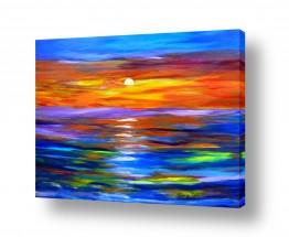 אסתר חן-ברזילי אסתר חן-ברזילי - אמנות מהלב - המילים הפכו לצבעים - השתקפות | זוהר השקיעה