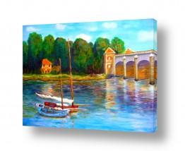 אסתר חן-ברזילי אסתר חן-ברזילי - אמנות מהלב - המילים הפכו לצבעים - השתקפות | גשר על הנהר