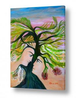 אסתר חן-ברזילי אסתר חן-ברזילי - אמנות מהלב - המילים הפכו לצבעים - דמויות | אדם וחווה