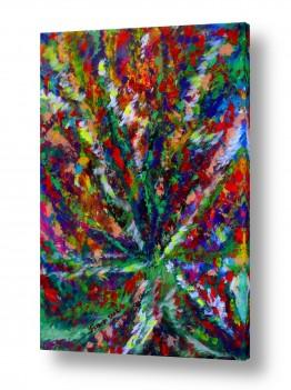 ציורי שמן - נוף עצים שיחים ופרחים | מרבד פרחים
