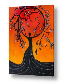 ציורי שמן - נוף עצים שיחים ופרחים | אלת עץ הריקוד