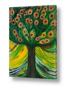 ציורי שמן - נוף עצים שיחים ופרחים | פרחי אהבה