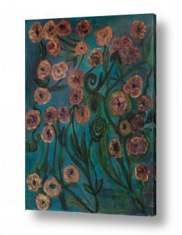 ציורי שמן - נוף עצים שיחים ופרחים | פרחי זהב