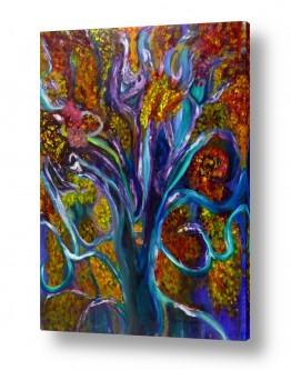 ציורי שמן - נוף עצים שיחים ופרחים | עץ הדעת