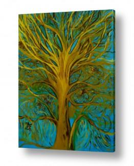 ציורי שמן - נוף עצים שיחים ופרחים | עץ השמש