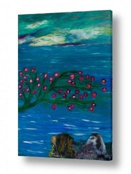 ציורי שמן - נוף עצים שיחים ופרחים | פריחה לחוף ים