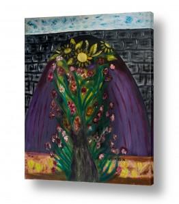 אסתר חן-ברזילי אסתר חן-ברזילי - אמנות מהלב - המילים הפכו לצבעים - עץ עם פריחה | שער הפרחים