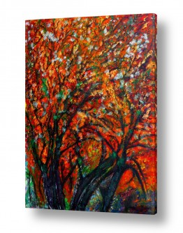 אסתר חן-ברזילי אסתר חן-ברזילי - אמנות מהלב - המילים הפכו לצבעים - גזעים | פריחה של סתו