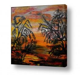 אסתר חן-ברזילי אסתר חן-ברזילי - אמנות מהלב - המילים הפכו לצבעים - השתקפות | שקיעה באפריקה