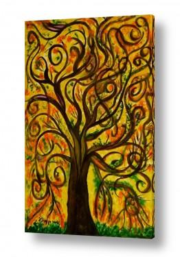 אסתר חן-ברזילי אסתר חן-ברזילי - אמנות מהלב - המילים הפכו לצבעים - גזעים | עץ מסולסל