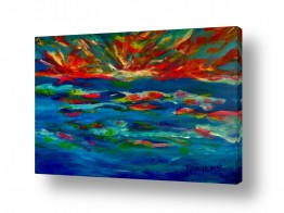 אסתר חן-ברזילי אסתר חן-ברזילי - אמנות מהלב - המילים הפכו לצבעים - השתקפות | שקיעה זוהרת