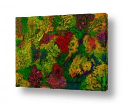 ציורי שמן - נוף עצים שיחים ופרחים | פריחה בגני