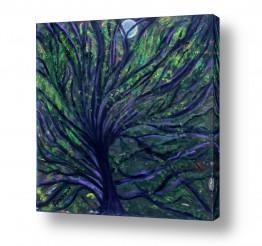 אסתר חן-ברזילי אסתר חן-ברזילי - אמנות מהלב - המילים הפכו לצבעים - גזעים | ערב סגול עמוק