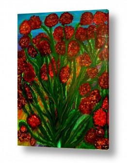ציורי שמן - נוף עצים שיחים ופרחים | פריחת ארגמן