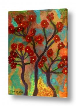 אסתר חן-ברזילי אסתר חן-ברזילי - אמנות מהלב - המילים הפכו לצבעים - גזעים | תפרחת אדומה